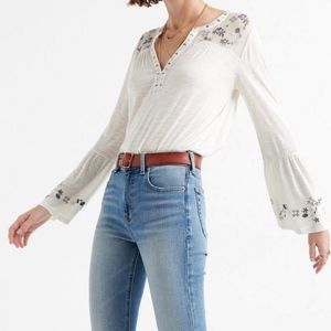 NWT Lucky Brand Embroidered Yoke Top